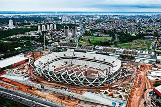 Arena Amazonia, the stadium being built for the 2014 World Cup. Photo: Lalo de Almeida/The New York Times